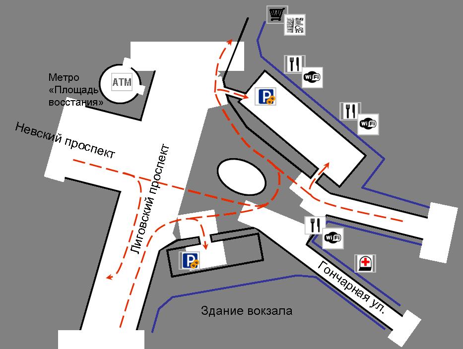 Схема платных парковок рядом с